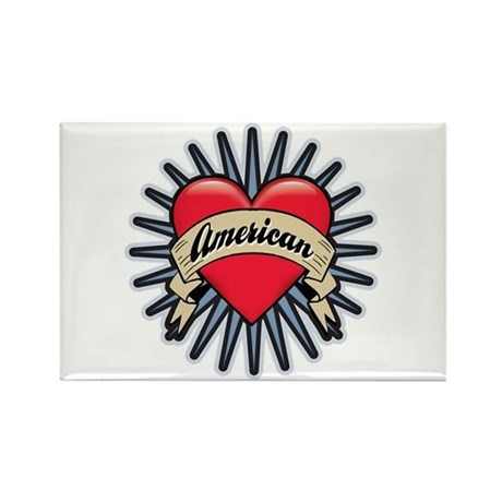 American Tattoo Heart Rectangle Magnet