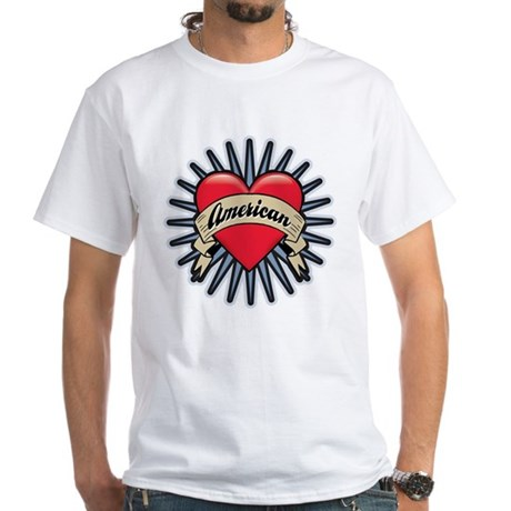 American Tattoo Heart White T-Shirt