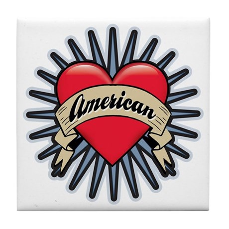 American Tattoo Heart Tile Coaster