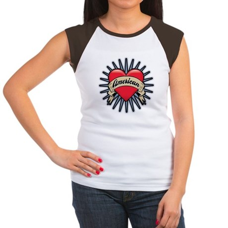 American Tattoo Heart Women's Cap Sleeve T-Shirt