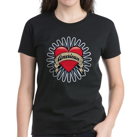 American Tattoo Heart Women's Dark T-Shirt