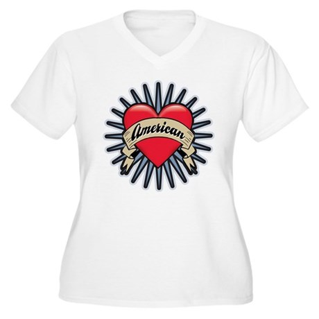 American Tattoo Heart Women's Plus Size V-Neck T-S