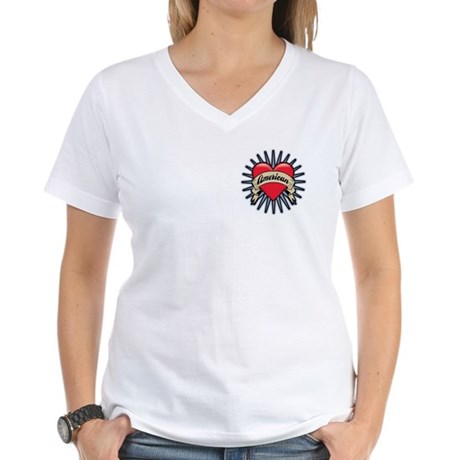 American Tattoo Heart Women's V-Neck T-Shirt