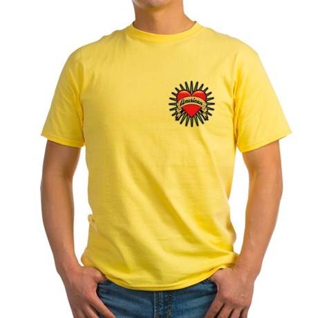 American Tattoo Heart Yellow T-Shirt