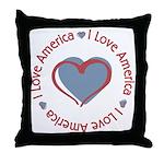 I Love Heart America Throw Pillow