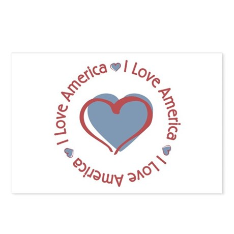I Love Heart America Postcards (Package of 8)