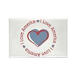 I Love Heart America Rectangle Magnet