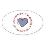 I Love Heart America Oval Sticker (10 pk)
