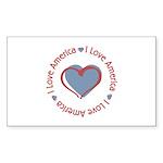 I Love Heart America Rectangle Sticker