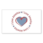 I Love Heart America Rectangle Sticker 10 pk)