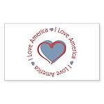 I Love Heart America Rectangle Sticker 50 pk)