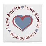 I Love Heart America Tile Coaster