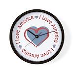 I Love Heart America Wall Clock