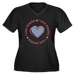 I Love Heart America Women's Plus Size V-Neck Dark