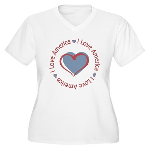 I Love Heart America Women's Plus Size V-Neck T-Sh