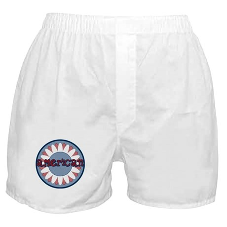 American Flower Red White Blue Boxer Shorts