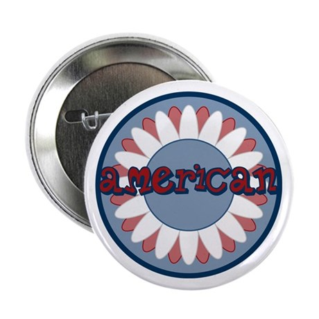 """American Flower Red White Blue 2.25"""" Button"""
