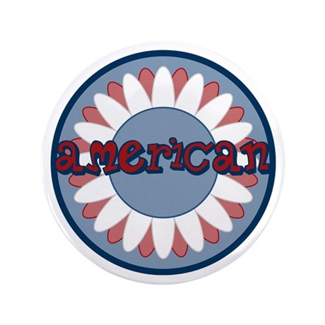 """American Flower Red White Blue 3.5"""" Button"""