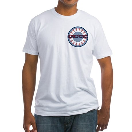 American Flower Red White Blue Fitted T-Shirt
