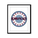American Flower Red White Blue Framed Panel Print