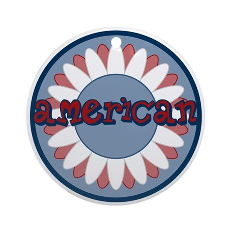 American Flower Red White Blue Ornament (Round)