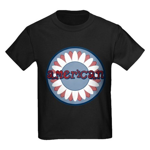 American Flower Red White Blue Kids Dark T-Shirt