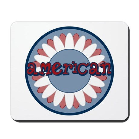 American Flower Red White Blue Mousepad