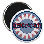 "American Flower Red White Blue 2.25"" Magnet (100 p"