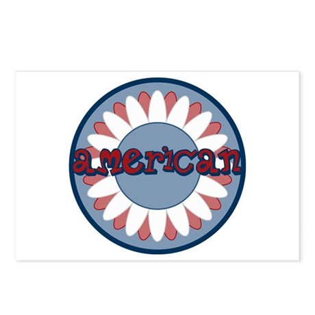 American Flower Red White Blue Postcards (Package