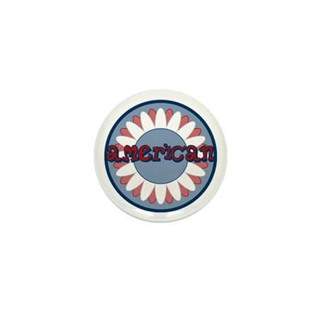 American Flower Red White Blue Mini Button (10 pac