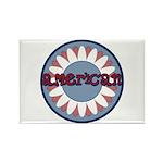 American Flower Red White Blue Rectangle Magnet (1