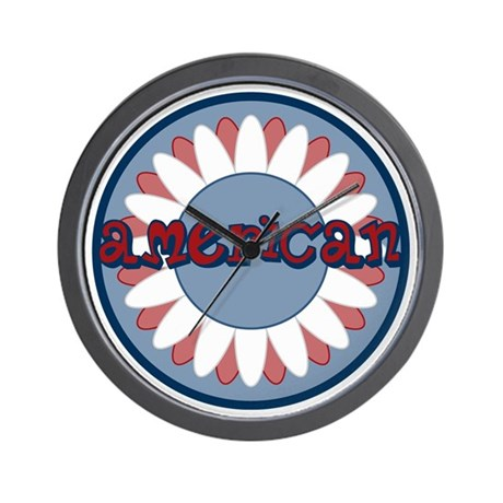 American Flower Red White Blue Wall Clock