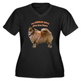 German Spitz kisses Women's Plus Size V-Neck Dark