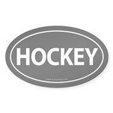Hockey Traditional Auto Sticker -Black (Oval)
