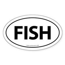Fish Traditional Auto Sticker -White (Oval)