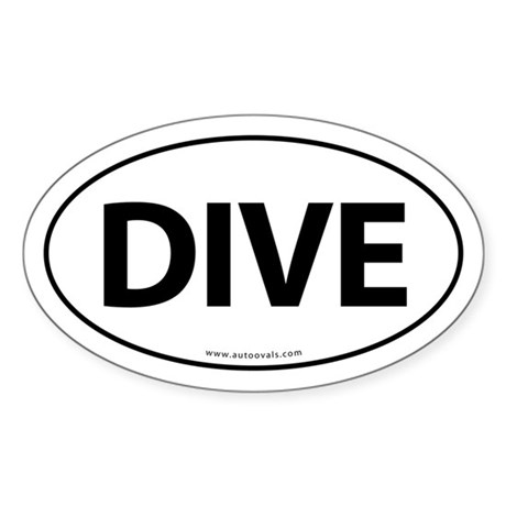 Dive Traditional Auto Sticker -White (Oval)