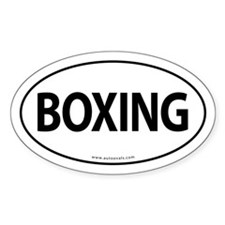 Boxing Traditional Auto Sticker -White (Oval)