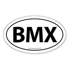 BMX Traditional Auto Sticker -White (Oval)