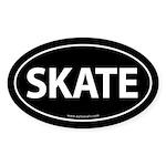 Skate Euro-Style Auto Sticker -Black (Oval)