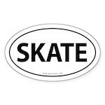 Skate Euro-Style Auto Sticker -White (Oval)
