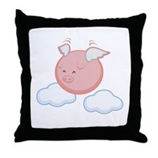 Sky Flying Pig Throw Pillow