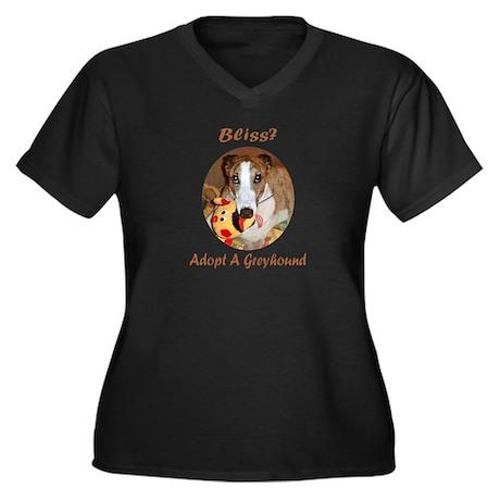 BLISS Women's Plus Size V-Neck Dark T-Shirt