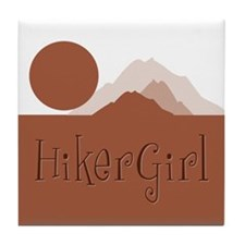 Mountain HikerGirl Tile Coaster
