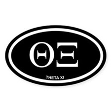 Theta Xi Black Euro Oval Decal