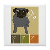 Pug with Daisies - Black Tile Coaster