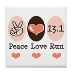 Peace Love Run 13.1 Tile Coaster