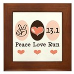 Peace Love Run 13.1 Framed Tile