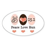 Peace Love Run 13.1 Oval Sticker