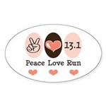 Peace Love Run 13.1 Oval Sticker (10 pk)