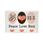Peace Love Run 13.1 Rectangle Magnet (10 pack)